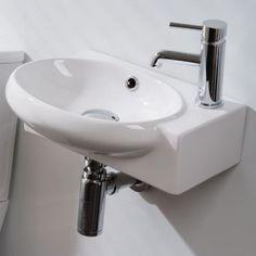 Modern Oval Corner Ceramic Cloakroom Basin Right Hand Bathroom Sink Wall Hung 43 Cloakroom Basin, Basin Sink Bathroom, Basin Taps, Sinks, Cozy Bathroom, Bathroom Art, Modern Bathroom, Ideal Bathrooms, Better Bathrooms