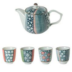 Théière + gobelet en porcelaine motif fleurs Coffret de 4 KYOTO Table Passion