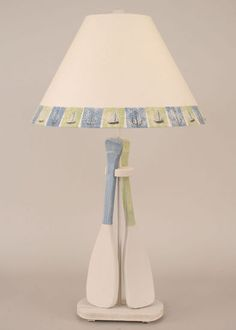 "Fantastic blue and green will add a little color to any room.  2-Paddle Table Lamp Height: 31"" Shade Size: 6.5x18x12 Shade#: LU-603 Finish: White Wash w/Wedgewood Blue & Seagrass Accent Finial: White Wash"