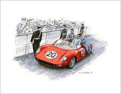 """Winners – 1964 24 heures du Mans Pen&ink and archival markers on 11.5""""x 9"""" watercolour paper © Paul Chenard 2014"""