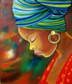 Oil Painting by Unknown Artist. Black Women Art, Black Art, Afrique Art, African Art Paintings, Afro Art, African American Art, Female Art, Art Pictures, Folk Art