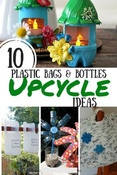 These ten ideas of ways to upcycle plastic bottles and bags turn your trash into helpful household items or pretty things to decorate your yard. Upcycled Crafts, Diy Crafts To Sell, Fun Crafts, Crafts For Kids, Gift Crafts, Summer Crafts, Toddler Crafts, Reuse Plastic Bottles, Plastic Bottle Crafts