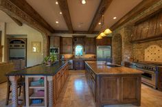 Double Island Kitchen Furniture Quality Knotty Alder Stained Cabinets Solid Wood Cedar Beams