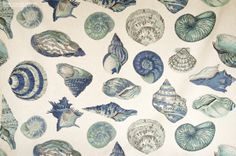 A seashell fabric done in sea glass tones of blue and aqua with a very large…