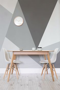 Want a modern twist on the traditional monochrome theme? This giant geometric wallpaper design is just the thing. Ideal for stylish dining room areas and the home office.