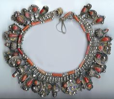 Kabyle Silver, Enamel and Coral Necklace - Algeria