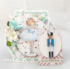 www.stampingbella.com : Rubber stamp called TINY TOWNIE NATALIE and the NUTCRACKER card by Sandie Dunne