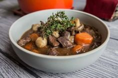 Beef bourguignon - recipe - Daily Gourmet. Delicious beef, braised in red whine with shallots, rosemary, thyme, bay leaves, mushrooms and carrots.