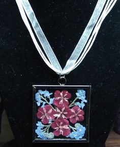 Red, white and blue (verbena and forget-me-nots) pressed flower necklace