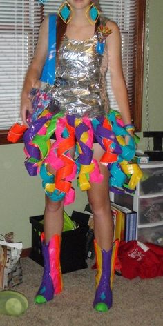 Duct tape dress, boots, flower, purse, and earings                                                                                                                                                                                 More