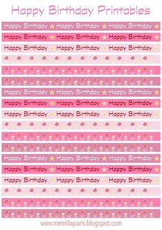 FREE printable happy birthday border sheet - perfect for DIY straw flags, paper napkin rings, faux masking tape and garlands! ^^