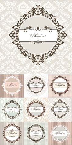 Set of vector vintage classic round frames with decorative floral ornaments and flourish elements, ornate patterns on the background for your invitation cards, Floral Vintage, Shabby Vintage, Vintage Frames, Collages D'images, Vector Vector, Vectors, Image Digital, Vintage Borders, Handmade Cards
