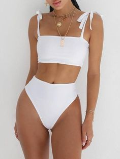 67 Summer Bikinis Ideas Beach Outfits and Swimsuits for Women - The Finest Feed Vacation Swimsuits and Beachwear for women. Womens Affordable bikinis, swim suit cover ups. Summer bikini and beach outfit ideas. Source by outfit swimsuits Sexy Bikini, Bikini Sets, Bikini Swimwear, Women Bikini, White Bikini Set, Bandeau Bikini, Sporty Bikini, Strapless Swimsuit, White Swimsuit