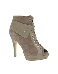 ASOS TURNER Suede Lace-Up Peep Toe Shoe Boot