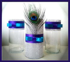 Peacock Wedding Centerpieces, Peacock Decorations, Peacock Party Centerpiece (Set of 3) - Silver Bling Wedding Decor & Party Décor. $28.00, via Etsy.