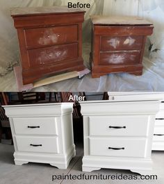 Nightstands painted white - painted furniture