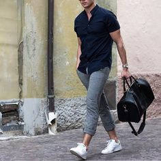 Navy short sleeve shirt, @bahge duff bag, gray pants and @adidasoriginals sneakers by @konstantin ✨ [ www.RoyalFashionist.com ]