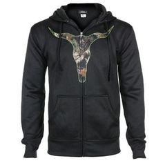 Cody James® Men's Camo Steer Skull Hooded Zip-Up Sweatshirt