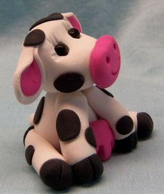 simple+polymer+clay+animals | Cute Little Cow Polymer Clay Sculpture White with Black Spots ...