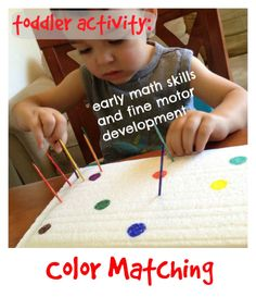 Munchkins and Moms: Early Math and Fine Motor Activity with upcycled strofoam pieces. Motor Skills Activities, Sensory Activities, Toddler Activities, Learning Activities, Sensory Play, Teaching Toddlers Colors, Learning Colors, Color Unit, Early Math
