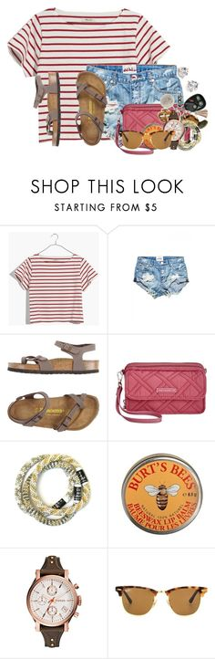 """Going to Goodwill and get a slushee with my BFF"" by flroasburn ❤ liked on Polyvore featuring Madewell, Birkenstock, Vera Bradley, Burt's Bees, FOSSIL, Ray-Ban and Kate Spade"