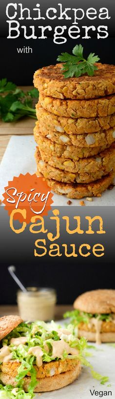 These Chickpea Burgers with Spicy Cajun Sauce are vegan food obsession worthy!  Serve with a side of chips, or baked fries, for the perfect dinner!