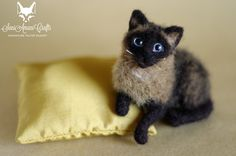 Needle felted siamese cat miniature