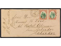 GUATEMALA. 1886 (June 3). Cover from RETALHULEU to SAN SALVADOR franked by 1881 5 c. orange red & green (2) tie by starcancels in black and ...