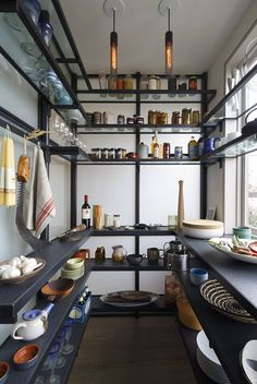 Walk In Pantry Ideas Black Kitchen Pantry Shelving Walk Through Pantry Ideas Kitchen Pantry Design, Kitchen Storage, Kitchen Pantries, Kitchen Ideas, Kitchen Cupboards, Kitchen Designs, Kitchen Appliances, Home Design, Design Ideas