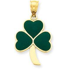 14K Gold Enameled Shamrock - Shamrock Necklaces: Gifts for St. Patrick's Day