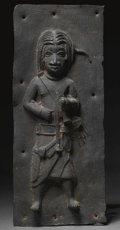 A RARE BENIN PLAQUE, NIGERIA, CA. 17TH CENTURY... ~Repinned Via Rien Catherine Kate http://www.sothebys.com/en/auctions/ecatalogue/2007/african-oceanic-and-pre-columbian-art-n08320/lot.123.html