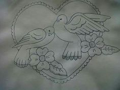 Embroiderie Baby Embroidery, Butterfly Embroidery, Embroidery Patterns Free, Floral Embroidery, Cross Stitch Embroidery, Embroidery Designs, Art Drawings Sketches Simple, Bird Drawings, Painting Patterns
