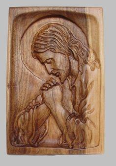 Talla de madera religiosa hecha a mano The Jesus Praying Wall Hanging Decor Relief encerado, Dremel Wood Carving, Wood Carving Art, Wood Art, Wood Carvings, Wood Carving Designs, Wood Carving Patterns, Catholic Art, Religious Art, Wood Block Crafts