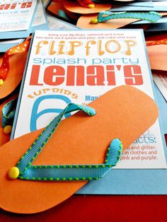 c23abe4ae37f0 This flip flop party invitation is great for beach parties and pool parties.  Luau Theme