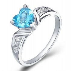 Heart Shaped Natural Blue Topaz 925 Sterling Silver Ring - USD $88.95