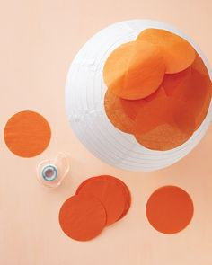 Paper lanterns using pre-cut tissue paper circles