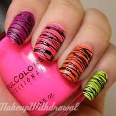 "Have you been searching for the classy ""rainbow nail art designs Well if yes then you have actually reached at the right destination to get the best o. Neon Nails, Diy Nails, Cute Nails, Pretty Nails, Zebra Nails, Rainbow Nail Art Designs, Cute Nail Designs, Nail Polish Art, Tips Belleza"