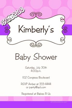 Swirl Dot Stripes Baby Shower Invitations - CHOOSE YOUR COLOR SCHEME  -  Get these invitations RIGHT NOW. Design yourself online, download and print IMMEDIATELY! Or choose my printing services. No software download is required. Free to try!