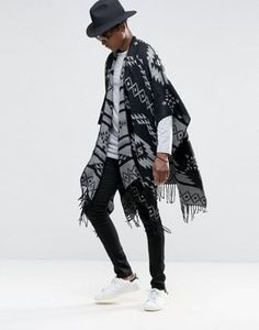 ASOS Geo-Tribal Cape In Monochrome
