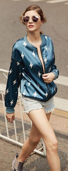 Blue Lightning Print Satin Bomber Jacket + Light Blue Denim Shorts + Cool Street Style Sunglasses - romwe.com