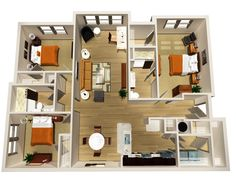 Do It Yourself : Floor Plans In Designing A House : Fascinating 3 Bedroom Layout And Open Living Room Feat Small Dining Also Open Kitchen Pl...