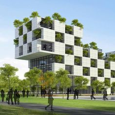 This university building features a chequerboard facade of concrete slabs and tree-filled balconies: www.dezeen.com/2014/08/11/fpt-university-vietnam-vo-trong-nghia-architects