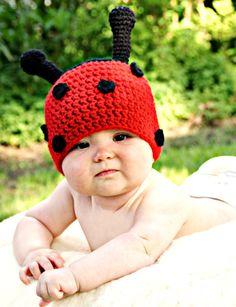 Ladybug Crochet Hat Sizes Newborn 36 months by MyThreeBlindMice, $25.00