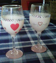 Valentine's painted and bejeweled wine glasses for me and my honey! (front and back)