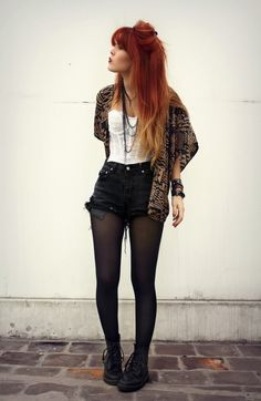 Grunge. Black Boots. Tights. Black Shorts. Cardigan. White Halter Top. Ombre Hair. Pretty. Cute. Outfit.