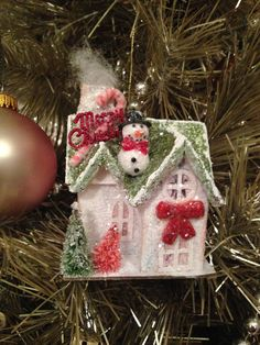 Vintage Putz House~Glitter House~Christmas Village~Gingerbread House~Handmade Ornament~Vintage Christmas~Kitschy~Putz Village~ by ThePokeyPoodle on Etsy