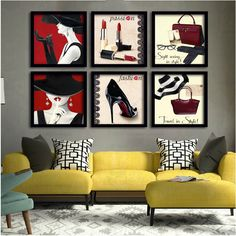 Posh Lush Classic Red Elegant Black Theme Wall Display Retro Pop Art Posters for SOHO Office DIY Home Decor Ladies Retail Store Fashion Boutique Specialty Store Interior Design Canvas Print Framed Art Painting