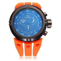 Sale 11% (8.99$) - V6 V0202 Super Speed Sport Orange Big Dial Men Quartz Wrist Watch