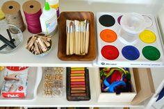 Art Shelves at How we Montessori - top shelf