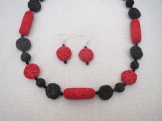 Red and Black Cinnabar Necklace and Earrings Set by jazzybeads